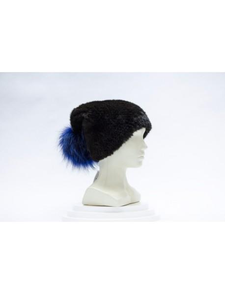 Женская шапка норка+вязка