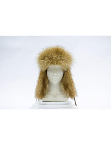 Женская шапка-ушанка из енота
