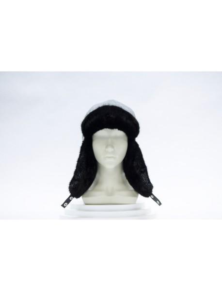 Женская шапка-ушанка из норки
