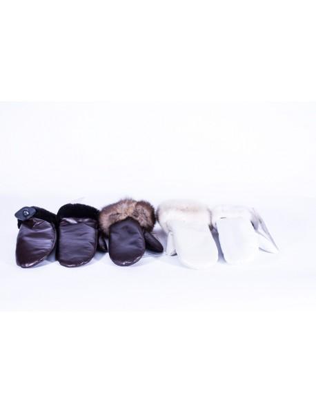Кожаные варежки с мехом