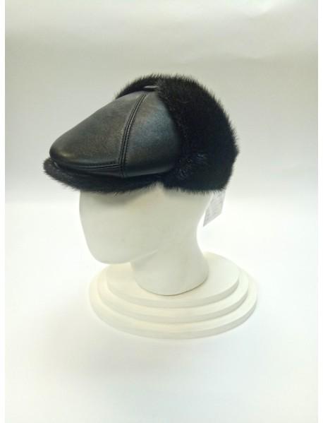 Мужская шапка нерпа + кожа