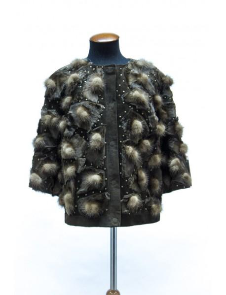 Куртка замшевая с норкой и каракулем