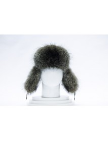Мужская шапка-ушанка из енота