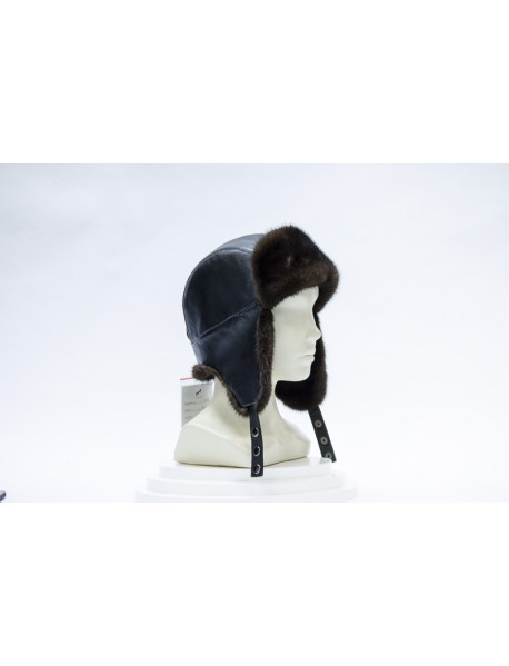 Женская шапка-ушанка норка+кожа