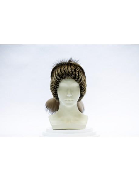 Женская шапка-сноп из кролика